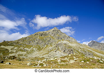 Mountain with blue sky and clouds