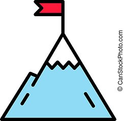 Mountain with flag on a peak. Leadership illustration. Success icon. Line design
