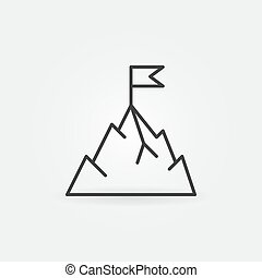 Mountain with flag vector icon in thin line style