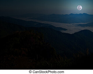 Mountain with full moon