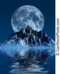 Mountain with Moon - This image shows a generated mountain...