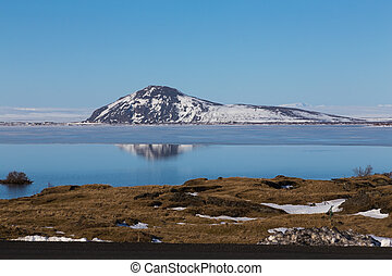 Mountain with snow reflection