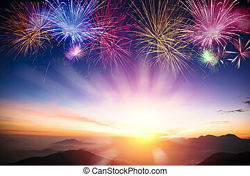 mountain with sunrise and fireworks background
