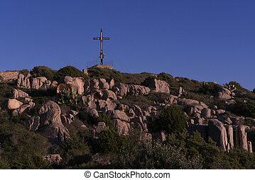 mountain with the cross