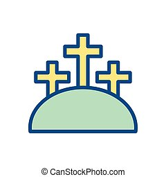 mountain with three crosses, colorful and line style design