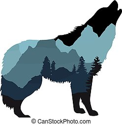 Mountain Wolf Silhouette Vector