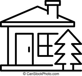 Mountain wood house icon, outline style