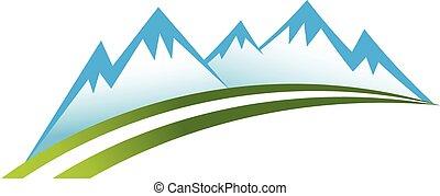 Mountain zone, road logo. Vector graphic design