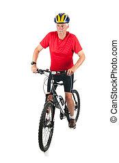 mountainbiker, idősebb ember