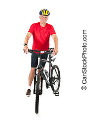mountainbiker, personne agee