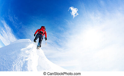 Mountaineer arrive at the summit of a snowy peak. Concepts: determination, courage, effort, self-realization.