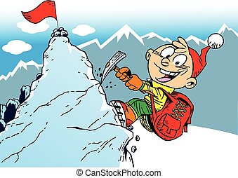 mountaineer - The illustration shows the climber who rises...