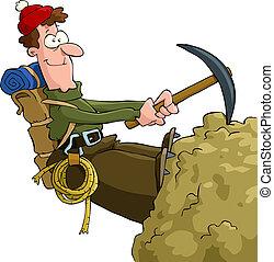Mountaineer climbing on the rock vector illustration
