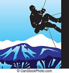 Mountaineering - Climber in the mountains rising on the ...