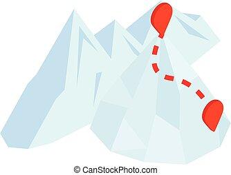 Mountaineering icon, isometric style