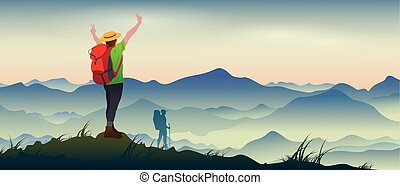 Mountaineering - The real picture of happy tourists with...