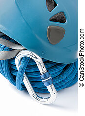 Mountaineering safety equipment with a rolled blue braided ...
