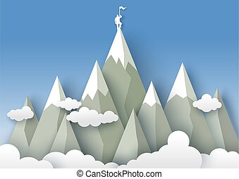 Mountaineering, vector illustration in paper art style