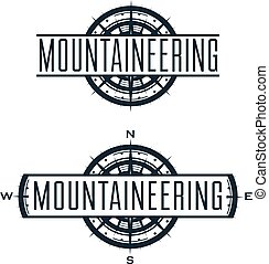 Mountaineering vector logo and labels set. Sport climbing,...