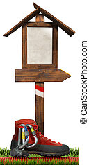 Mountaineering - Wooden Directional Sign - Empty wooden...