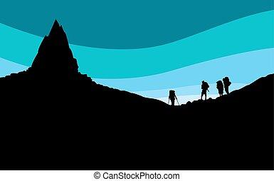 mountainers, 山, 黑色半面畫像, 站立, 在下面, peak.