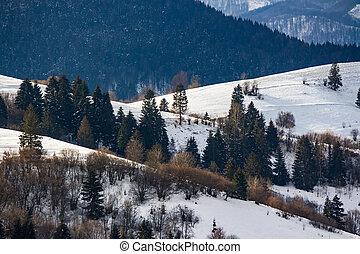 mountainous area on winter morning - mountainous rural area...
