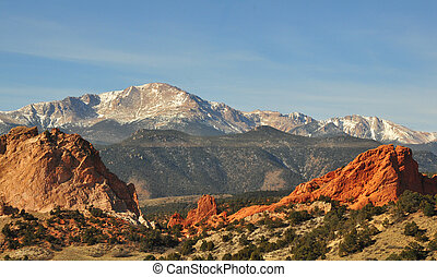 Garden of the Gods - Mountainous background of Garden of the...