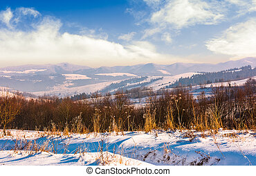mountainous countryside on bright winter day. lovely...