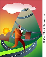 mountainous journey - perseverance concept