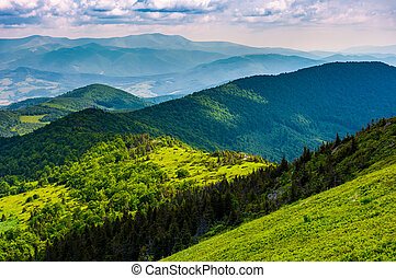 mountainous landscape with forested hills. beautiful summer...