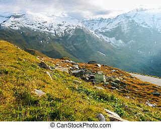Mountainous landscape with peaks in Austria in fall.