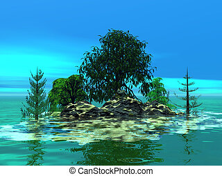 Mountainous little island with trees