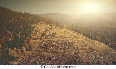 Mountainous slope surface scenery aerial view - Mountainous...