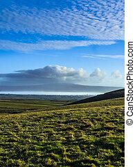 Mountainous terrain and the blue sky in Ireland