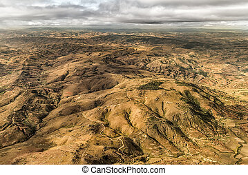 Aerial view of the of the mountainous terrain of the highland areas of Madagascar