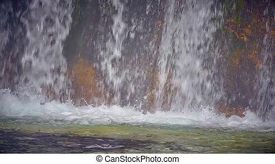 mountainous waterfall slow motion landscape