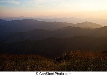 Mountains,  över, solnedgång
