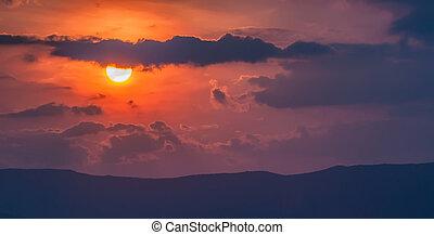 Mountains,  över, solnedgång, trevlig