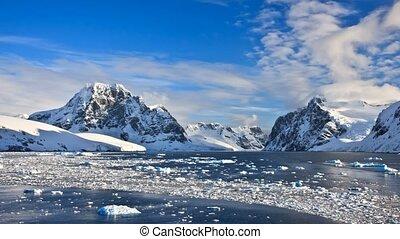mountains, медленный, метраж, antarctica., движение, 4k, snow-capped