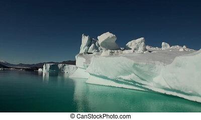 mountains, отражающий, water., большой, море, icebergs