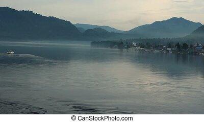 mountains, течь, озеро, воды, алтай, teletskoye
