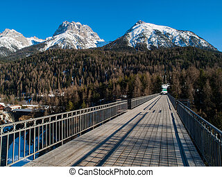 Mountains above Scuol - View of mountains above Scuol...