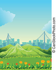 Mountains across the tall buildings - Illustration of the...