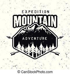 Mountains adventure black vector round badge