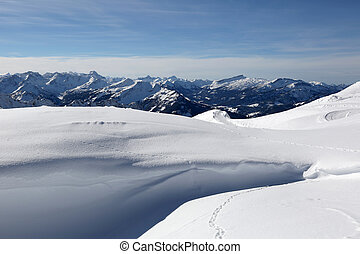 Mountains Alps with snow in winter