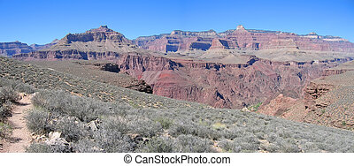 Mountains and dry vegetation, Grand Canyon National Park,...