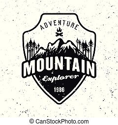 Mountains and forest black vector badge on white