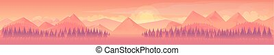 Mountains and forest, nature landscape, vector background