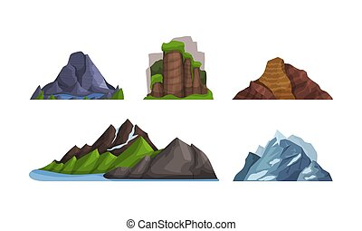 Mountains and hills of various shapes and colors. Vector illustration.
