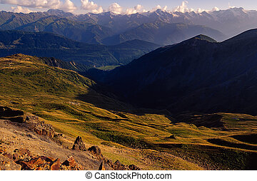 Mountains and meadows landscape view in Svaneti national park, Georgia